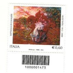 Italia repubblica 2012 Patrimonio artistico e culturale italiano 93° emissione Centenario della nascita di Aligi Sassu – Battaglia di Cavalieri – codice a barre