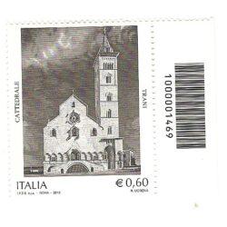 Italia Repubblica 2012 Patrimonio artistico e culturale italiano 92° emissione Cattedrale di Trani – codice a barre