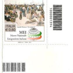 Italia Repubblica 2011 Museo Nazionale dell'Emigrazione Italiana di Roma MEI Codice a barre