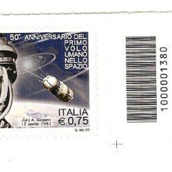 Italia Repubblica 2011 50° Anniversario del primo volo umano nello spazio – Codice a barre