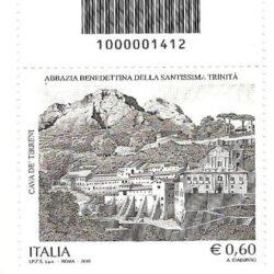 Italia Repubblica Patrimonio Artistico e Culturale Italiano 89° emissione Abbazia Benedettina della Santissima Trinità di Cava de' Tirreni Codice a barre