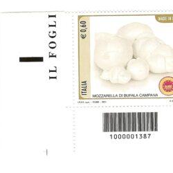 Italia Repubblica 2011 Il Made in Italy 15° emissione Formaggi DOP Mozzarella di Bufala Campana – Codice a barre