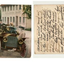 Cartolina viaggiata a colori con auto Fiat