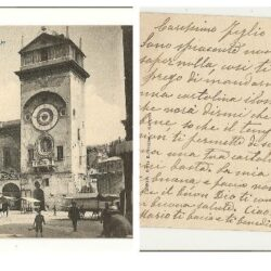 Cartolina Mantova Torre dell'Orologio Rotonda S. Lorenzo
