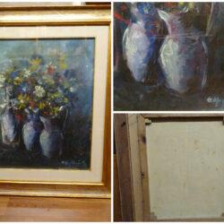 Quadro Dino Migliorini vaso di fiori olio su tela