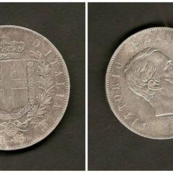 5 Lire 1865 Regno d'Italia Vittorio Emanuele II – Napoli – MB/BB R