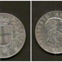 5 Lire 1872 Regno d'Italia Vittorio Emanuele II, M