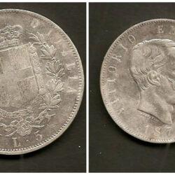 5 Lire 1876 Regno d'Italia Vittorio Emanuele II, BB