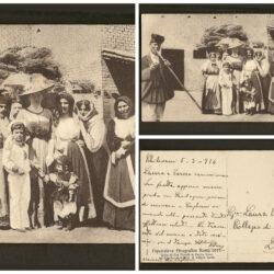 Cartolina Esposizione Etnografica Roma 1911 – Visita di Sua Maestà la Regina Elena col Principe ereditario al gruppo Sardo – viaggiata