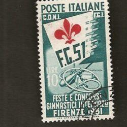 Italia Repubblica 1951 Feste e Concorsi Ginnastici Internazionali  10L. usato
