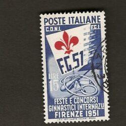 Italia Repubblica 1951 Feste e Concorsi Ginnastici Internazionali  15L. usato