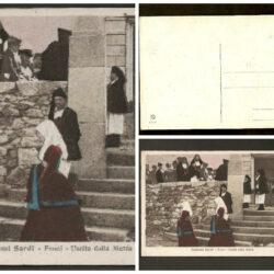 Cartolina Sardegna, Costumi sardi, Fonni, uscita dalla messa