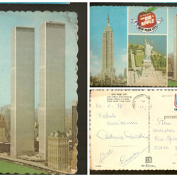 Post card The Big Apple New York Empire State Building – Statue of Liberty – World Trade Center