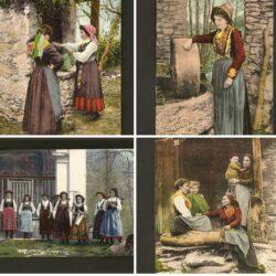 Lotto cartoline In Valesia, costumi Campertogno Fobello  Vocca Scopa