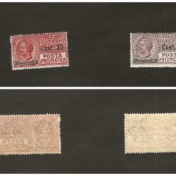 Regno d'Italia Posta Pneumatica 1927 (22 giugno) Tipo del 1913-23 soprastampati