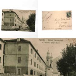 Cartolina Agordo Chiesa Parrocchiale e Caserma degli Alpini