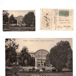 Cartolina Torino Giardini Pubblici e Stazione Porta Nuova