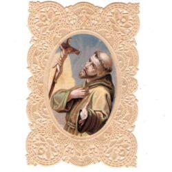 Santino trinato, traforato, merlettato – Santo in adorazione alla Croce
