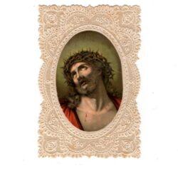 Santino trinato, traforato, merlettato – Cristo con corona di spine