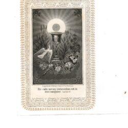 Santino trinato, traforato, merlettato – Hic Calix Novum.. Calice di Cristo