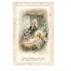 Santino trinato, traforato, merlettato – Gesù, Maria, Giuseppe – Amate il Bambino Gesù