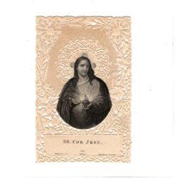 Santino trinato, traforato, merlettato – SS. Cor Jesu – Cuore di Gesù