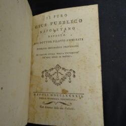 Il puro Gius Pubblico napoletano esposto dal Dottor Filippo Ammirati – Napoli 1792 Stamperia Pergeriana