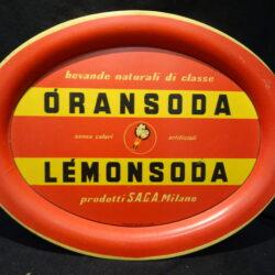 Vassoio Oransoda Lemonsoda SAGA Milano – Pelliconi – 1950 ca.