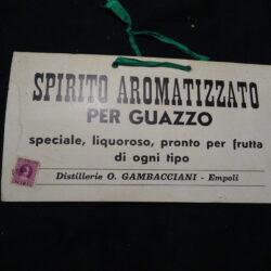 Cartoncino pubblicitario Spirito Aromatizzato per Guazzo – Distillerie O. Gambacciani Empoli