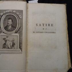 Satire di Antonio Vinciguerra, Lodovico Ariosto, Ercole Bentivoglio, Luigi Alamanni, Lodovico Dolce – Londra 1786 si vende presso Livorno Tommaso Masi