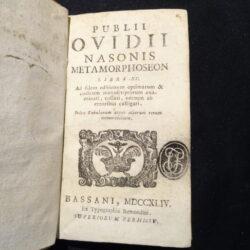 Publii Ovidii Nasonis Metamorphoseon Libri XV Bassani 1744 Typographia Remondini