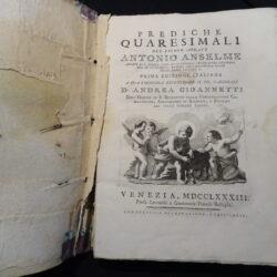Prediche quaresimali Antonio Anselme – Prima edizione italiana Venezia 1783
