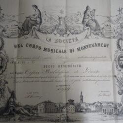 Società del Corpo Musicale di Montevarchi Diploma di Socio Benemerito 1869