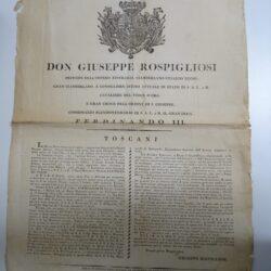 Granducato Toscano 1814 editto potere Gran Duca Ferdinando III Rospigliosi