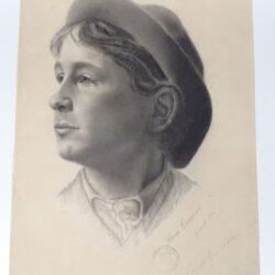 Disegno Flora Cecioni – Ritratto di giovane uomo – Firma Giovanni Fattori e timbro dell'Accademia delle Belle Arti di Firenze