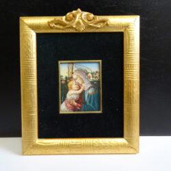 Quadro Franco Chiesi miniatura a olio Madonna con Bambino Gesù