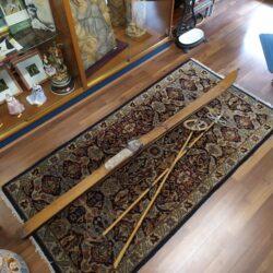 Coppia sci con racchette – vintage anteguerra legno originali